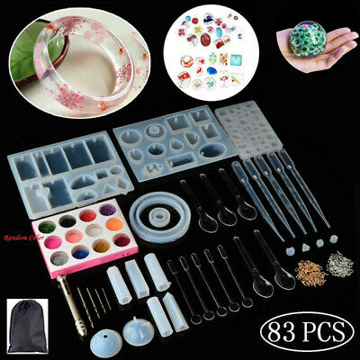 83Pcs Mold Tools Kit Resin Casting Molds for Crafts Silicone Epoxy Jewelry DIY