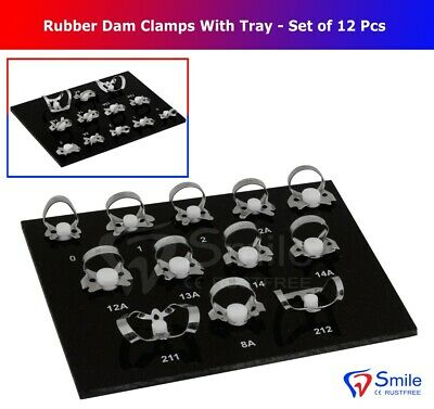 12 Pcs Endodontic Rubber Dam Clamps Dental Instrument With Black Tray - Smile UK