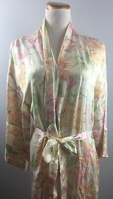 Vtg Victorias Secret Silk Robe L Large Belted Ivory Floral Long Gold VS EE60