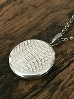 "Sterling Silver Georg Jensen Locket Pendant Necklace Belcher Chain 18""  (D1Z)"