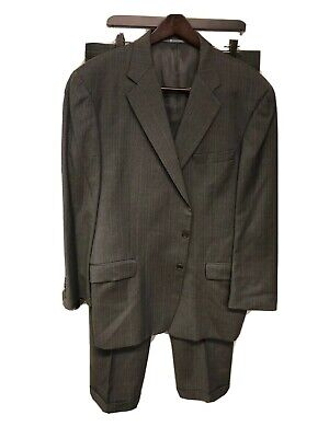 Hickey Freeman Suit Size 44R Pants Size 34x32 Gray Pinstripes Wool L-170