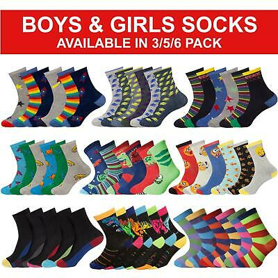Boys Girls Ankle Socks Children Kids Multicoloured Design Novelty Sock 3, 6 Pack