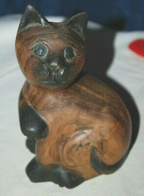 Vintage Hand Carved Wooden Cat Figure super cute face