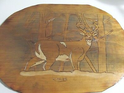 "Wood Plaque Stag White Tail Deer Hand Carved Signed 16"" x 11"""