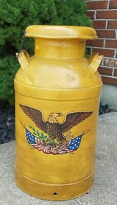 """Antique Vintage Metal Milk Can Jug Yellow Painted USA Eagle w/ Top 24"""" Tall"""