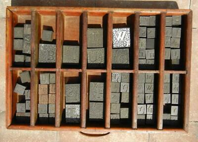 84 Pcs Antique Trees on Letters Printers Block Metal Wood & Wooden Tray