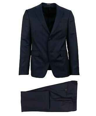 NWT Z ZEGNA Navy Blue Wool Blend Two Button Suit Size 46/36 R Drop 8 $1495