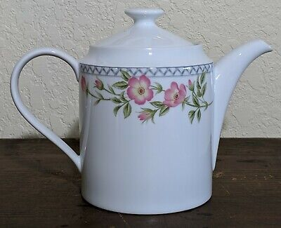 Nikko Arbor Rose Teapot or Coffee Pot With Lid Pink Flowers Microwave Safe