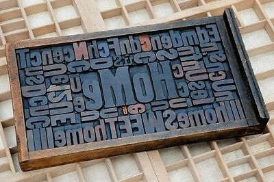 """Collage """"HOME"""" made of letterpress wood type characters in antique drawer old"""