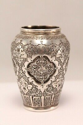 Antique Persian Sterling Silver Miniature Vase Deep Chased And Engraved