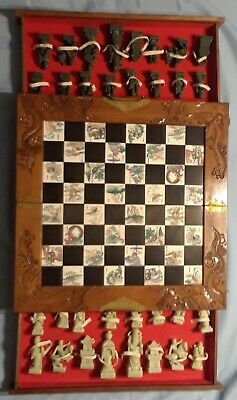 Vtg Oriental Asian Chess Set carved Soapstone Chinese Japanese Wooden Case Box