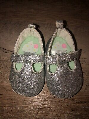Infant Baby Girl Child Of Mine Silver Shoes Size 0-3 Months