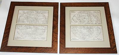 1700's Gabriel Ramirez Map Stars Constellations North South Hemispheres Framed