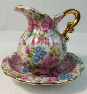 VINTAGE ROYAL CHINTZ ARNART 5th AVE PITCHER and SAUCER