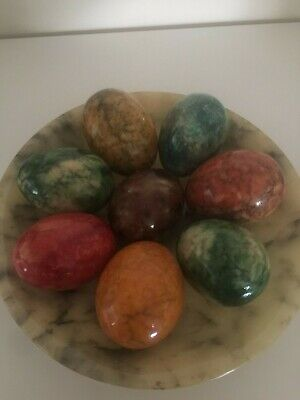 8 Alabaster Marble Onyx Colourful Decorative Eggs Italy?