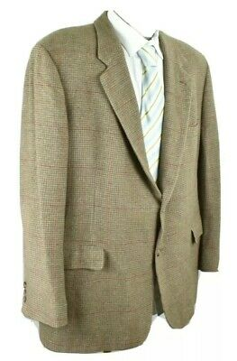48R Brooks Brothers Tan Suit Jacket Sport Coat Camel Hair Houndstooth Blazer