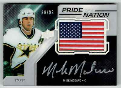 2019-20 Ud Black Pride Of A Nation Mike Modano Auto Usa Flag 20/99 Dallas Stars
