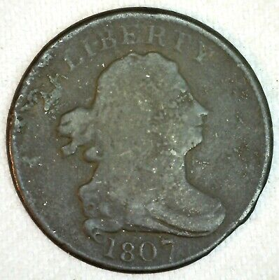 1807 Draped Bust Half Cent Copper Coin 1/2c US You Grade