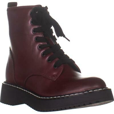 H5R063 SPOT ON GIRLS LACE UP BUCKLE BURGUNDY FLAT MID CALF WINTER BOOTS SHOES