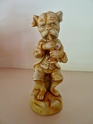 Quirky Bulldog in Period Dress Playing Boxwood Clarinet Pottery Figurine