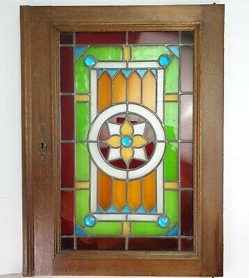Antique Reclaimed Cabinet Door Leaded Stained Glass Panel Rectangle