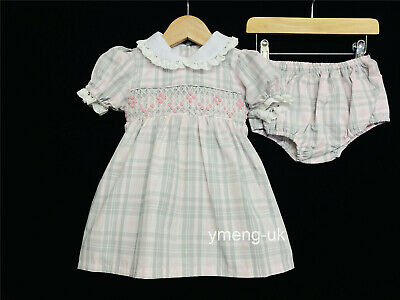 Caramelo Kids New Baby Girl Pink Checked Smocking Dress with Pants Romany
