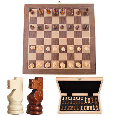 Large Wooden Carved Chess Set Folding Chessboard Magnetic Pieces Wood Board UK