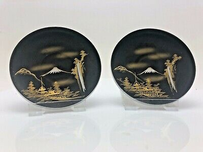Vintage Chinese Oriental Japanese Pair Small dishes China Volcano Marked Rare