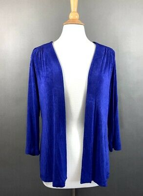 Chico's Travelers Womens Size 2 US Large Cardigan Blue Purple Open Front Top