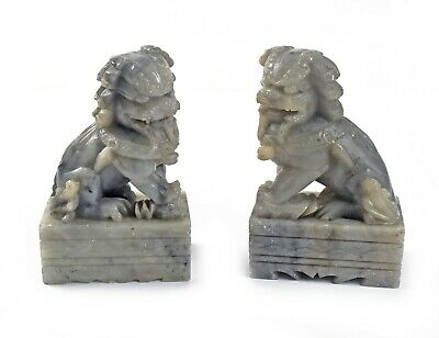 Pair Of Vintage Ornate Chinese Carved Soap Stone Foo Dog Figurines