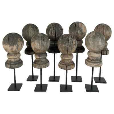 Antique 19th Century Weathered Wooden Finial Collection '8' on Stands 416-239
