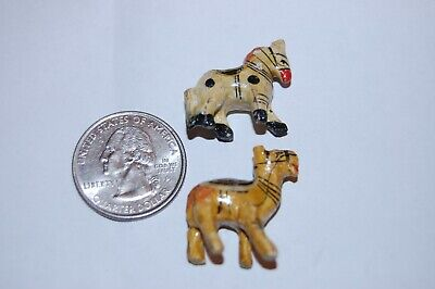 ANTIQUE FOLK ART Hand Carved MINIATURE Wood Figurines Pony, Camel