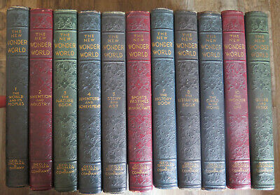 Complete Set Of 11 The New Wonder World - Vintage Leatherette Books 1939