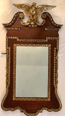 Chippendale Mahogany and Gilded Wood Constitution Mirror with Eagle, 1780's
