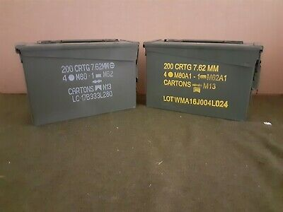 AMMO CAN ( 2 PACK ) ONCE USED MILITARY 7.62 / 30 Cal M19A1 ** FREE SHIPPING**