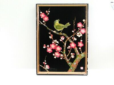 Vintage Reverse Painted Glass Mother of Pearl Inlay Japanese Cherry Tree Bird