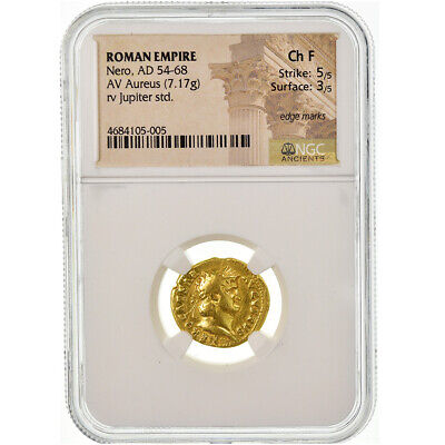 [#499980] Coin, Nero, Aureus, 64-65, Rome, graded, NGC, Ch F, VF(30-35), Gold