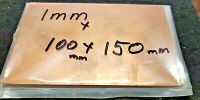 Copper Sheet 1 mm (110) 100mm x  150mm  pure 99.99% peelaway mirror side