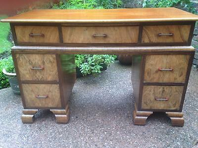 Genuine Art Deco English Antique Mahogany Maple Writing Desk