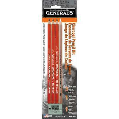 General's Charcoal Drawing Set White/Black Set of 4 Pencils and 1 Eraser