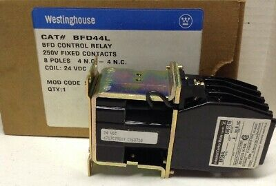 Westinghouse BFD44L BFD Control Relay 8 Poles 24VDC Coil