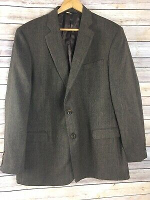 Brooks Brothers 346 Fitzgerald Sport Coat Jacket 46L Long Wool 2 Button Brown