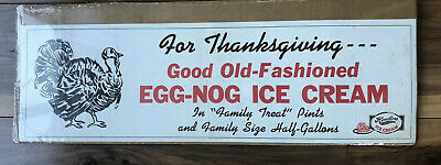 Hendlers Ice Cream Sign Paper Thanksgiving Egg Nog Flavor Vintage Country Store
