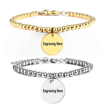 5mm Gold Plated Stainless Steel Bead Bracelet Round Tag Personalized Name Words