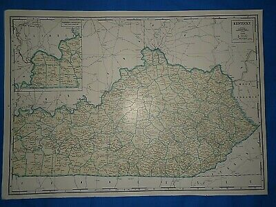 Vintage 1947 State & County MAP ~ KENTUCKY Old Original Folio Size Atlas Map