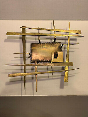 Brutalist Wall Sculpture Mid-Century Modern Abstract Brass