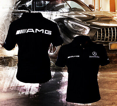 Handmade Mercedes AMG Benz T-Shirt COLLAR Logo Emblem Polo Tshirt Combed Cotton