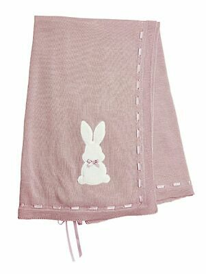 Gorgeous Baby Infant Spanish Pink Knitted Bunny Shawl with Ribbon Romany