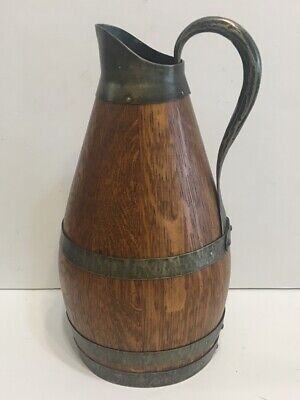 Vintage Wood and Metal Barrel Pitcher Jug 10 Inches Tall