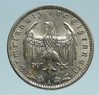 1935 GERMANY Eagle Wreath Antique Genuine OLD German Reichsmark Coin i83176